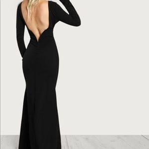 SHEIN long sleeve maxi dress with open back